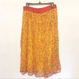 Soft Surroundings | Boho Silk Lined Maxi Skirt